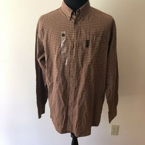 Columbia red, tan check long sleeve button down
